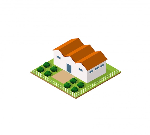 Fazenda rural em isométrico