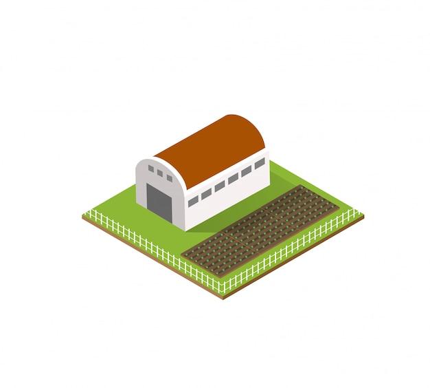 Fazenda rural na cidade isométrica