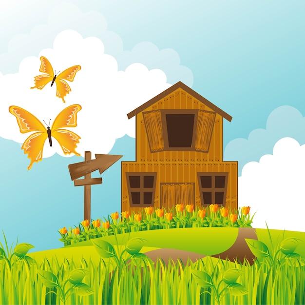 Fazenda sobre paisagem de verão