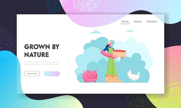 Fazendeira ou jardineira com caixa de frutas ou verduras na página inicial do site