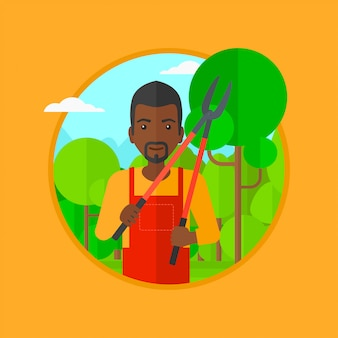Fazendeiro com a tesoura de podar manual na ilustração do vetor do jardim.