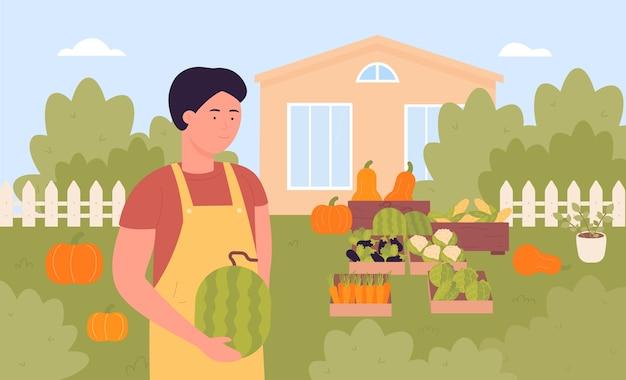 Fazendeiro com colheita, jardineiro de desenho animado segurando melancia nas mãos, cenário de vila de casa de fazenda