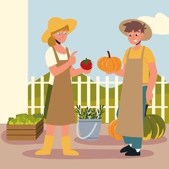 Fazendeiro com comida orgânica local