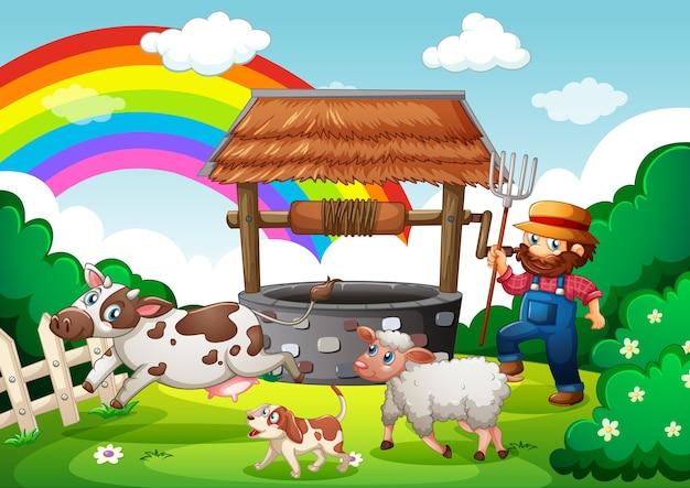 Fazendeiro com fazenda de animais em cena de fazenda em estilo cartoon