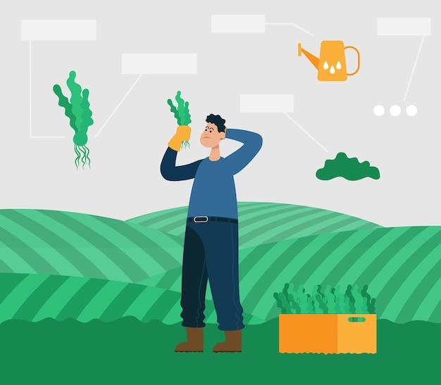 Fazendeiro com plantas nas mãos pensa em como cuidar dele. ilustração em vetor cor plana dos desenhos animados.