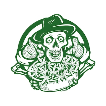 Fazendeiro de crânio com ilustração em vetor logotipo personagem cannabis
