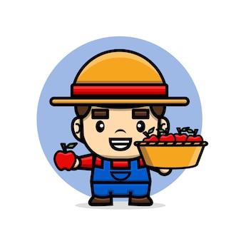 Fazendeiro de personagens fofinhos segurando uma cesta cheia de maçãs