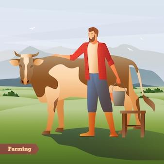Fazendeiro de sorriso com a cubeta perto da vaca manchada no pasto verde na composição lisa do fundo da montanha