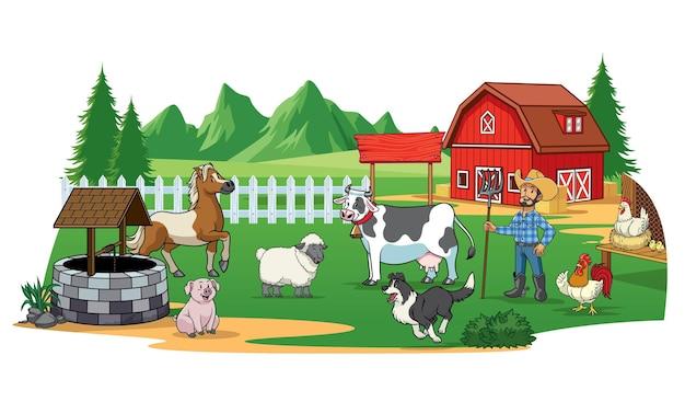 Fazendeiro e animais no quintal da fazenda