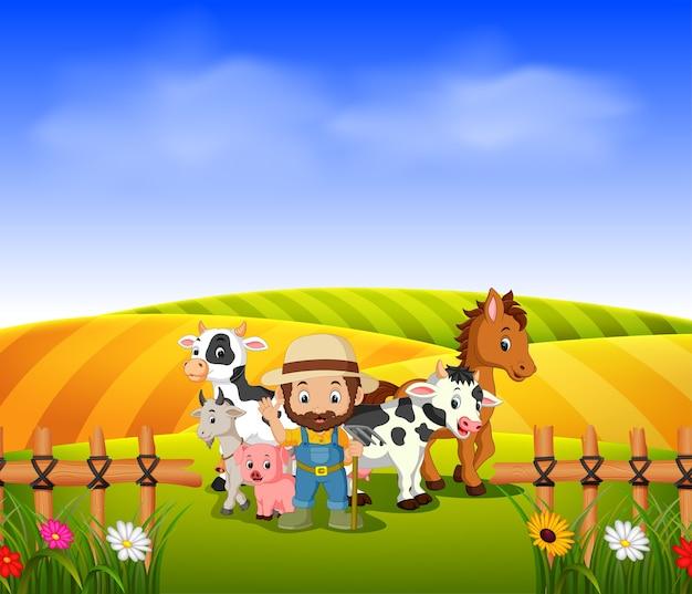Fazendeiro e animal farm com campo de paisagem