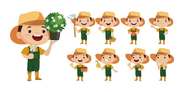 Fazendeiro e jardineiro com diferentes poses