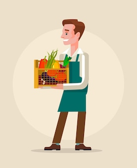 Fazendeiro e vegetais. ilustração plana