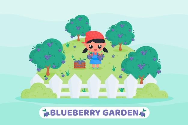 Fazendeiro fofo colhendo frutas no jardim de mirtilo ilustração dos desenhos animados