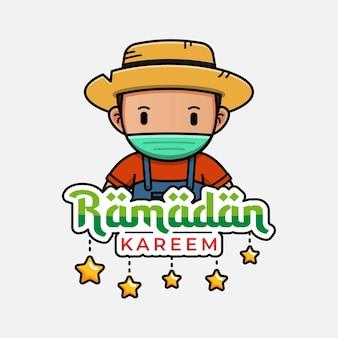 Fazendeiro fofo com ramadan kareem saudando