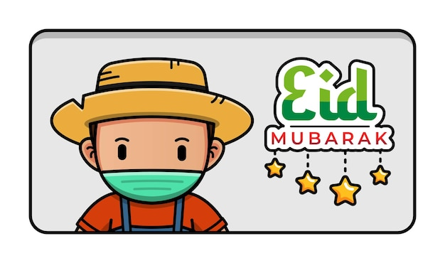 Fazendeiro fofo com saudação de eid mubarak