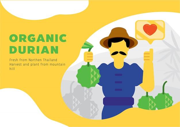 Fazendeiro local, colheita, fresco, durian