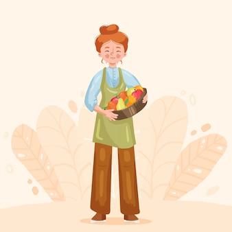 Fazendeiro local segurando vegetais e frutas
