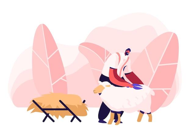 Fazendeiro maduro tosquia de ovelhas para lã no celeiro. personagem de tosquiador de ovelhas no processo de trabalho na fazenda.