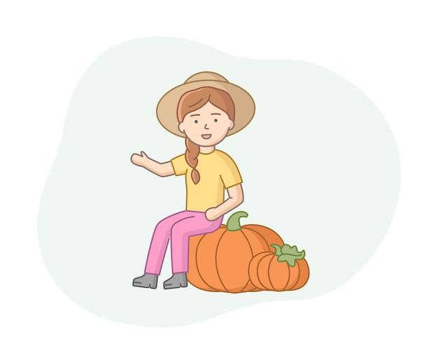 Fazendeiro mulher sorridente com duas grandes abóboras alaranjadas. projeto linear do conceito de colheita de fazenda. personagem feminina no chapéu de aba larga.