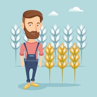 Fazendeiro na ilustração do vetor do campo de trigo.