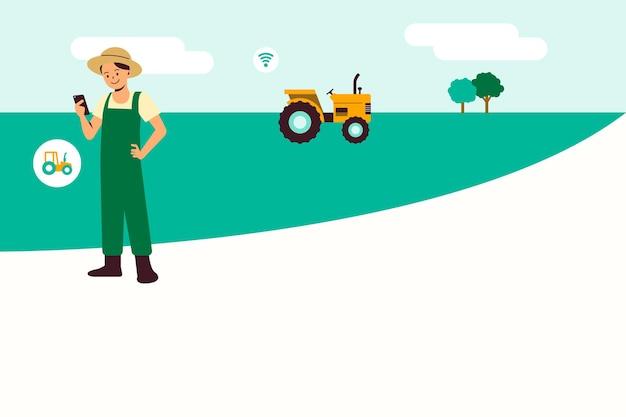Fazendeiro usando tecnologia de trator inteligente