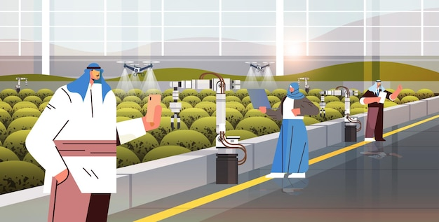 Fazendeiros árabes controlando drones agrícolas pulverizadores helicópteros quad voando para pulverizar fertilizantes químicos na estufa conceito de tecnologia de inovação de agricultura inteligente ilustração vetorial horizontal