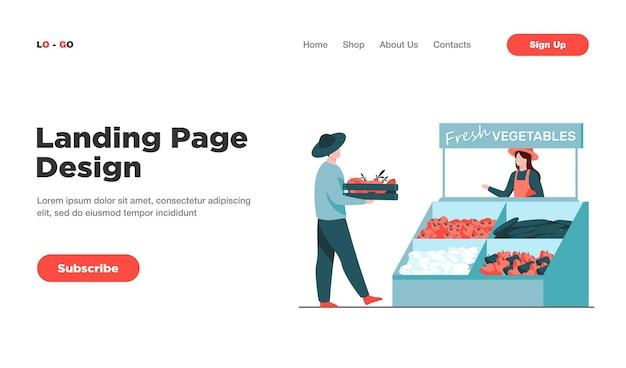 Fazendeiros felizes vendendo vegetais frescos na página inicial