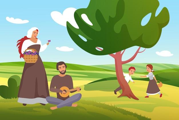 Fazendeiros medievais, camponeses, aldeões, famílias se divertem no campo de uma vila rural