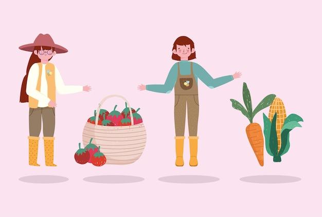 Fazendeiros menina e menino com cenoura tomate vegetais ilustração
