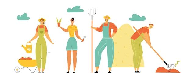 Fazendeiros personagens homens e mulheres jardinagem, colheita, tratamento de plantas