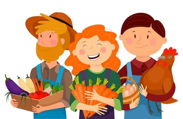 Fazendeiros, vegetais, cenouras, frango, ovos