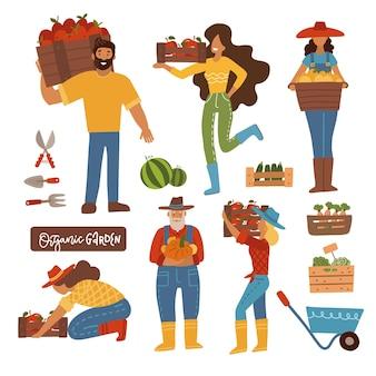 Fazendo a colheita, os agricultores colocaram homens e mulheres carregando caixas de madeira com a produção colhida