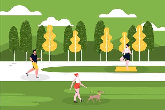 Fazendo atividades e mantendo o distanciamento social no parque