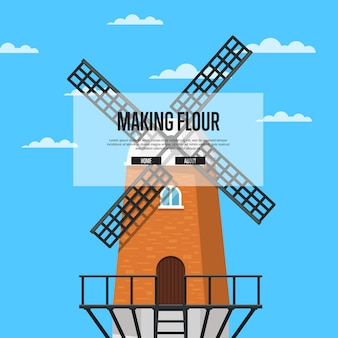 Fazendo cartaz de farinha com moinho de vento velho pedregoso