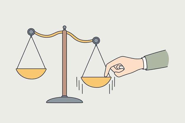 Fazendo escolha, medindo o conceito de valores. mão humana colocando o dedo de lado na balança para tomada de decisão e ilustração vetorial de escolha