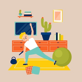 Fazendo esporte dentro de casa conceito