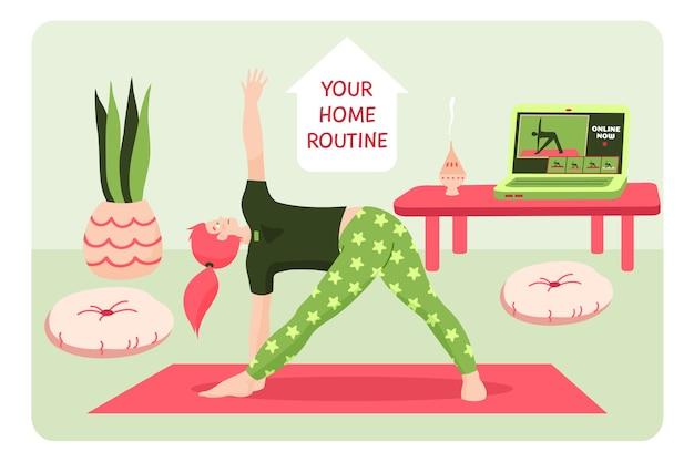 Fazendo exercícios de fitness na sala de estar