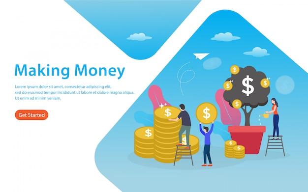 Fazendo página de destino de dinheiro