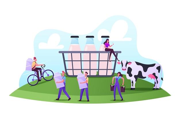 Fazendo rancheiros que trabalham na fazenda de animais ordenhando vacas e entregando aos clientes a produção de laticínios em bicicletas. pequenas pessoas ao redor de uma cesta enorme com garrafas de leite, ilustração vetorial de desenho animado