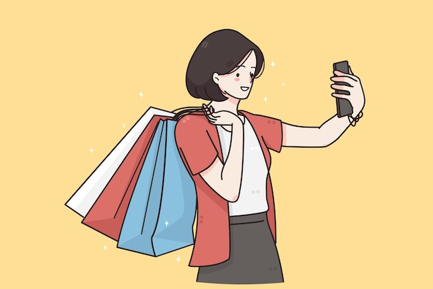 Fazendo selfie conceito de comunicação online