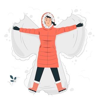Fazendo uma ilustração do conceito de anjo da neve