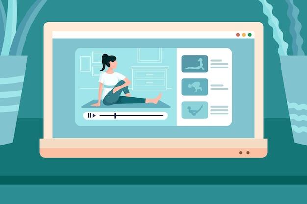 Fazendo yoga on-line em casa