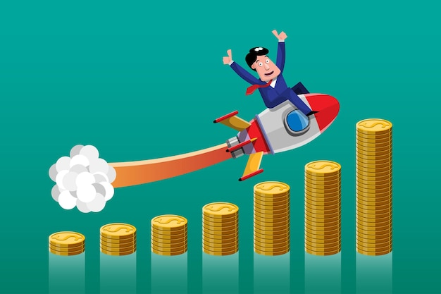 Fazer negócios com boas ideias é como ter um foguete apontado para o alto do gráfico de forma clara e rápida. ilustração em estilo 3d