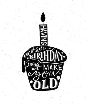Fazer outro aniversário não deixa você velho texto com cupcake e vela como logotipo de aniversário