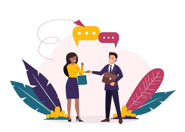 Fazer um acordo. abrindo uma nova startup. aperto de mão de mulher negra e homem