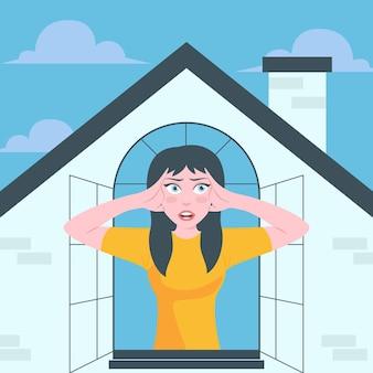 Febre da cabine com a mulher na janela