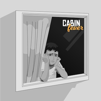Febre da cabine com pessoa olhando pela janela