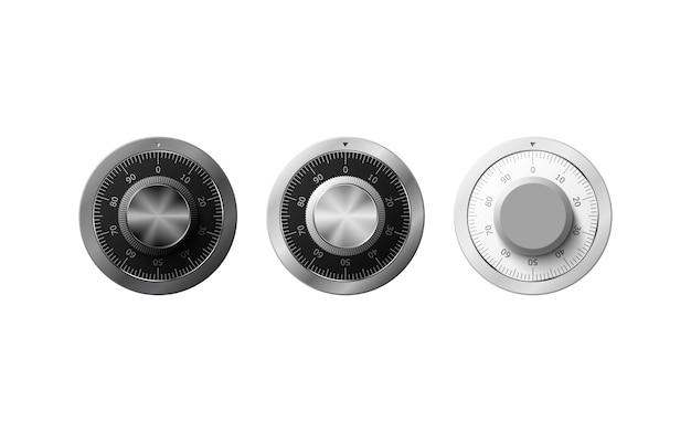 Fechadura de combinação realista sobre fundo branco. segurança de dados. ilustração