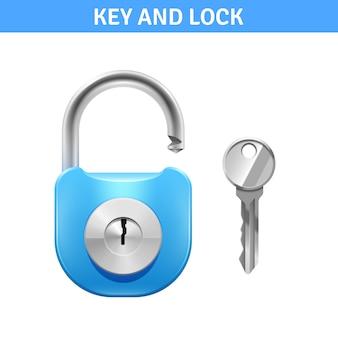 Fechadura de metal e chave para a segurança