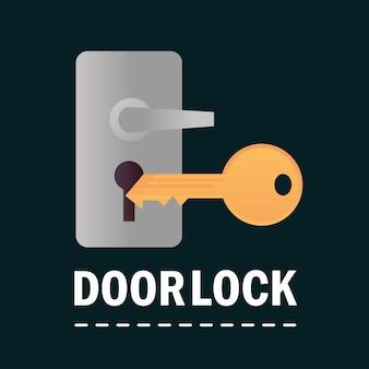 Fechadura e chave de segurança e proteção